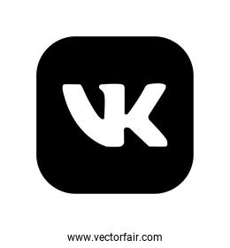 Vkontakte social network logo icon, silhouette style