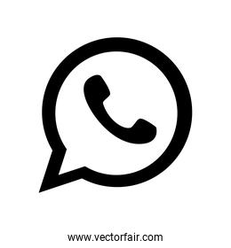 whats app instant messaging logo icon, silhouette style