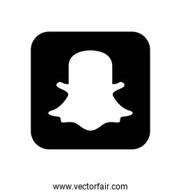 snapchat social network logo icon, silhouette style