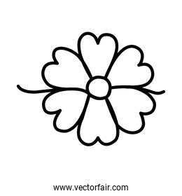 one line design of flower icon