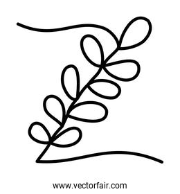 one line design of leaves icon