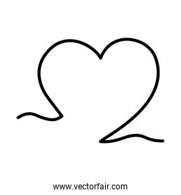 one line design of heart icon