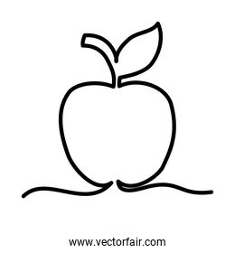 one line design of apple icon