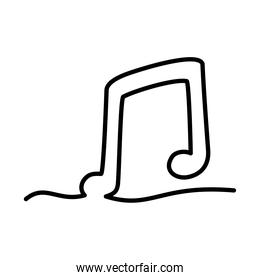 one line design of musical note icon