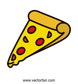 pizza slice icon, line and fill style