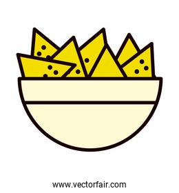 nachos bowl icon, line and fill style