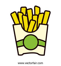 french fries icon, line and fill style