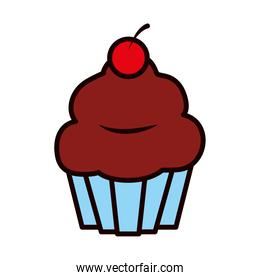sweet cupcake icon, line and fill style