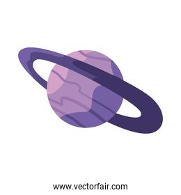 planet saturn of purple color, universe space concept, on white background