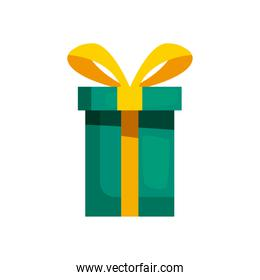 gift box of green color with ribbon yellow, on white background