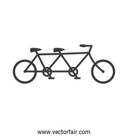 tandem bicycle transport on white background