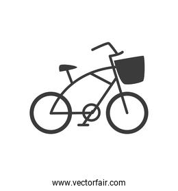 bicycle retro with front basket on white background