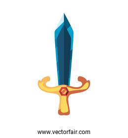 video game sword color blue on white background