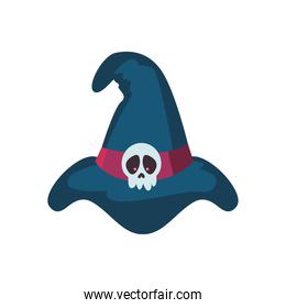 witch hat with skull decoration on white background