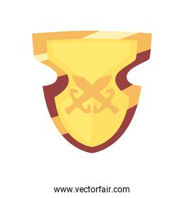 video game shield golden color in white background