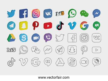 icon set of social media networks, isometric and line style