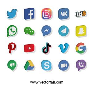 social networks and instant messaging logo icon set, isometric style
