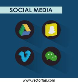 google drive and social media networks icon set, isometric style