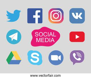 twitter and social media networks icon set, flat style