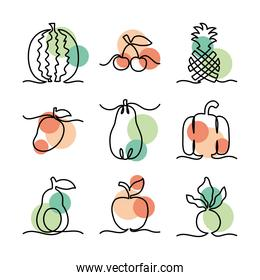 icons set of one line design of fruits and vegetables