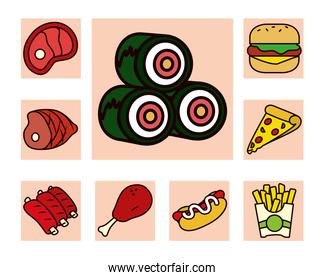 sushi rolls and food icon set, line and fill style