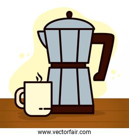 italian coffee maker and coffee mug icon, line and fill style