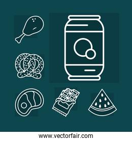 soda can and food icon set, line style
