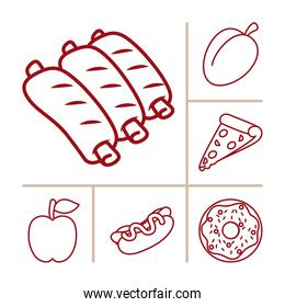 pork ribs and food icon set, line style