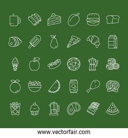fruits and food icon set, line style