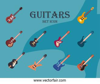 guitars instruments flat style set icons vector design