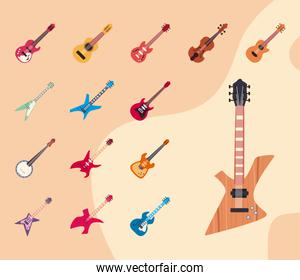 guitars instruments flat style set of icons vector design