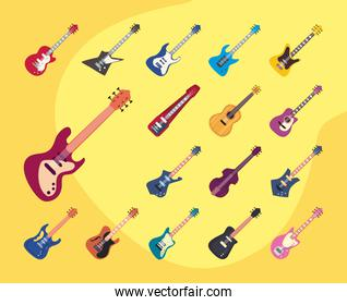 guitars instruments flat style icon collection vector design