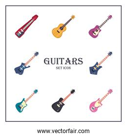 guitars instruments flat style collection of icons vector design