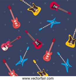 guitars instruments background flat style icon set vector design