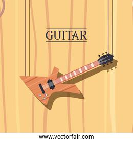 guitar electric instrument flat style icon vector design