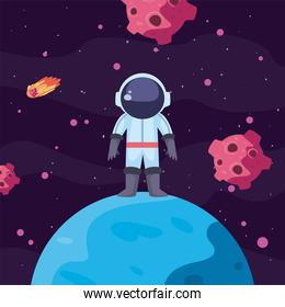 astronaut over planet in universe space scene