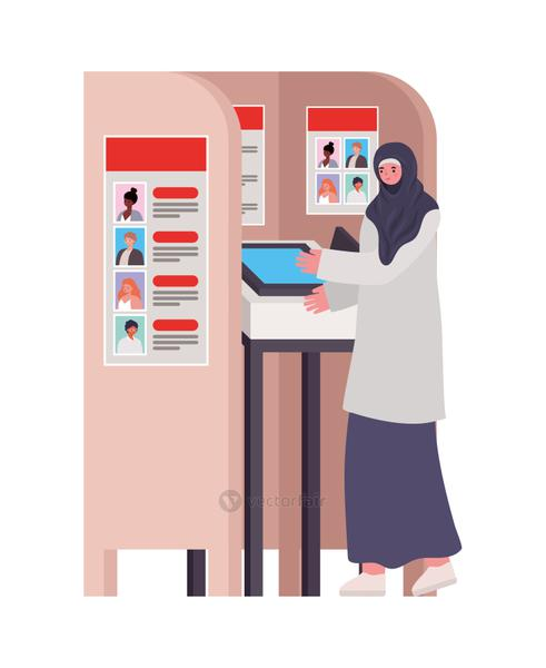 woman dressed in hijab and gray dress in a voting booth