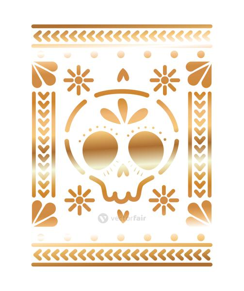 mexican icon of a skull with golden color in square on white background