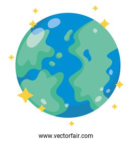 planet earth space galaxy astronomy in cartoon style