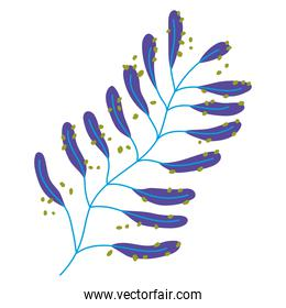 blue branch leaves foliage blue color icon on white background