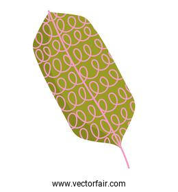 leaf foliage decoration abstract and minimalist style icon on white background