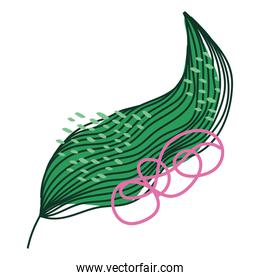 green leaf nature foliage decoration abstract icon on white background