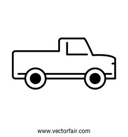 pickup transport, side view line icon isolated on white background