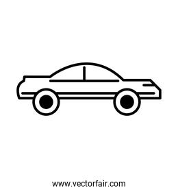 vintage car transport, side view line icon isolated on white background
