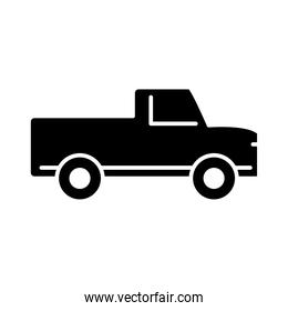 pickup transport, side view silhouette icon isolated on white background