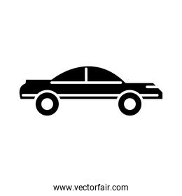 vintage car transport, side view silhouette icon isolated on white background