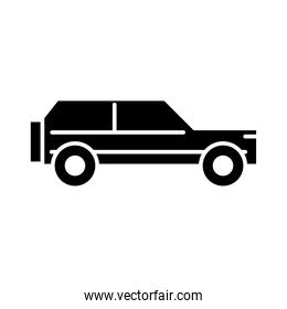 suv car side view, silhouette icon isolated on white background