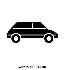 car transport side view, silhouette icon isolated on white background