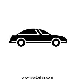 car transport side view line icon, isolated on white background