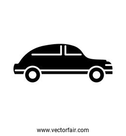 car transport, side view minimal silhouette icon isolated on white background